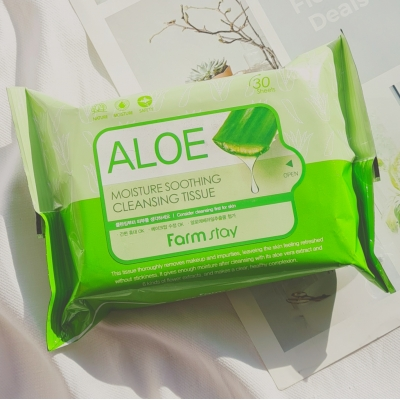 FarmStay Aloe Moisture Soothing Cleansing Tissue увлажняющие успокаивающие салфетки с алоэ
