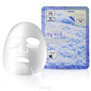 3W Clinic Fresh White Mask Sheet Осветляющая тканевая маска для лица с растительным экстрактами