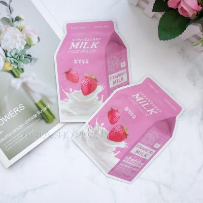 A-PIEU Strawberry Milk One-Pack осветляющая маска с  экстрактом клубники и жемчуга
