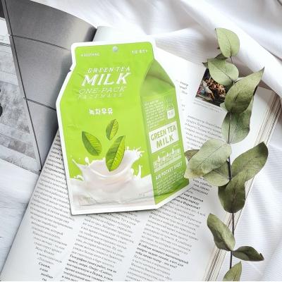 A'PIEU Green Tea Milk One-Pack успокаивающая молочная маска с экстрактом зеленого чая и гамамелиса