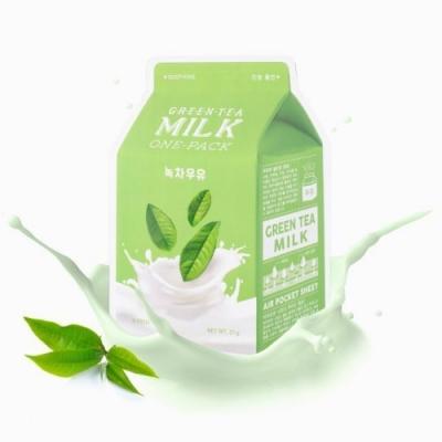 A-PIEU A'Pieu Green Tea Milk One-Pack успокаивающая молочная маска с экстрактом зеленого чая и гамамелиса